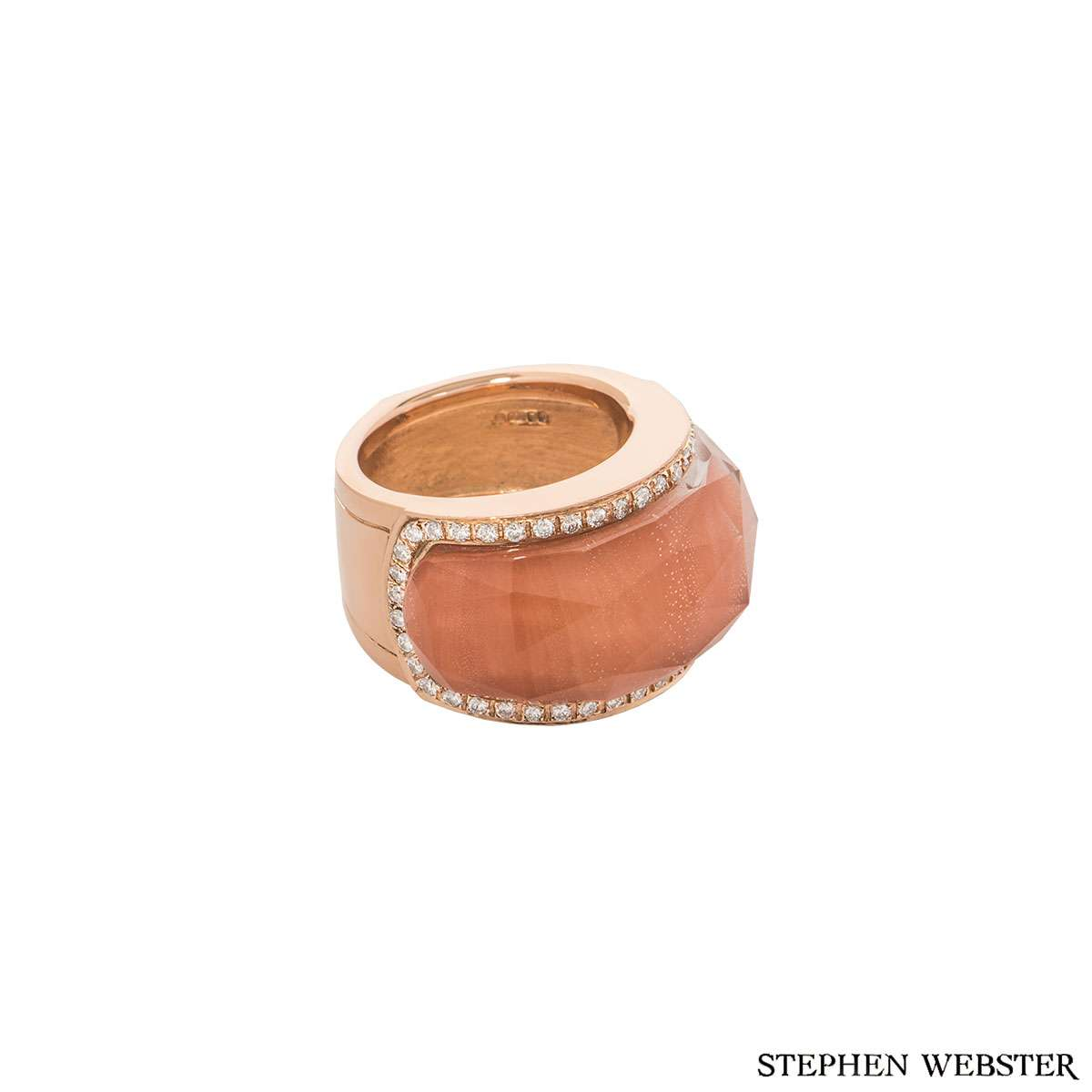 Stephen Webster Rose Gold Crystal Haze Coral and Diamond Ring